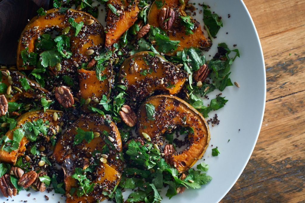 Roast pumpkin, black quinoa, nut & seed salad