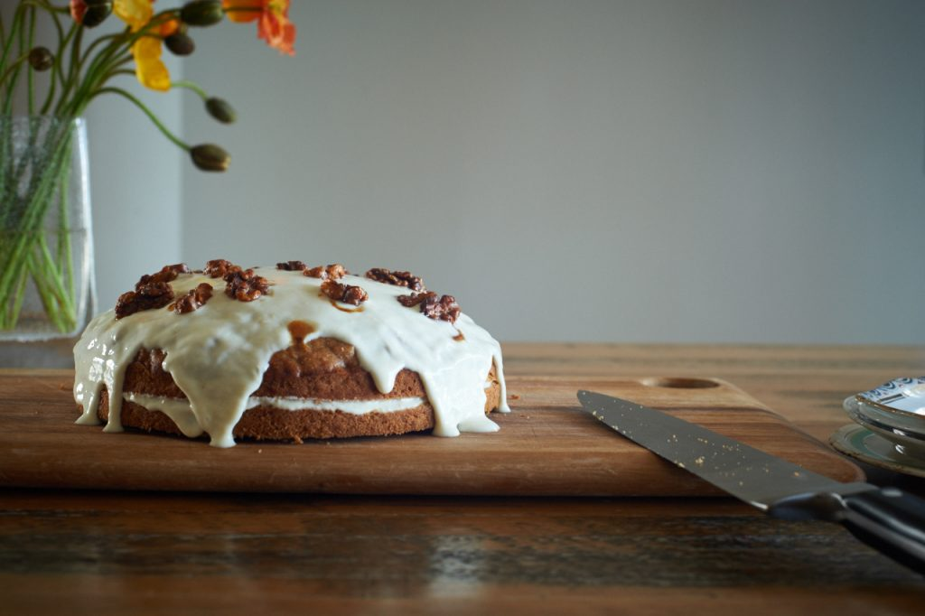Carrot and parsnip cake with lemon yoghurt icing