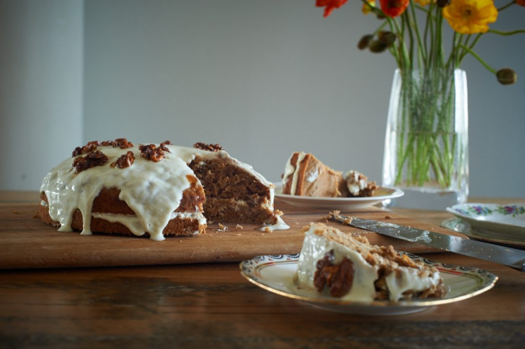 carrot and parsnip cake with lemon and yoghurt icing
